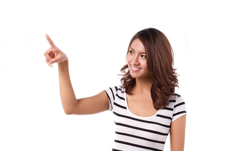 happy woman pointing or choosing on isolated white background Stock Photo