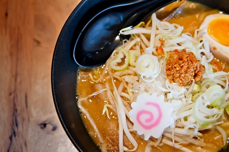 Asian Japanese noodle or miso ramen photo