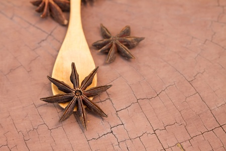 badiane: natural herb spice of star anise closeup Stock Photo
