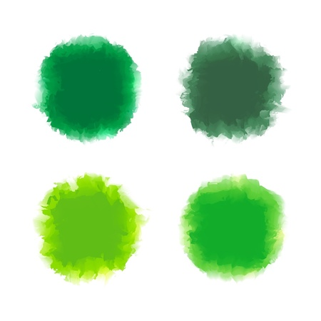 Set of green tone water color drop for brush, textbox, background, design element Stock Vector - 17993144