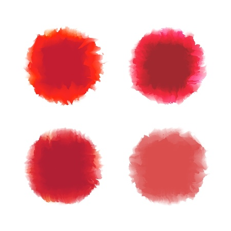 Set of red tone water color drop for brush, textbox, background, design element Stock Vector - 17993159