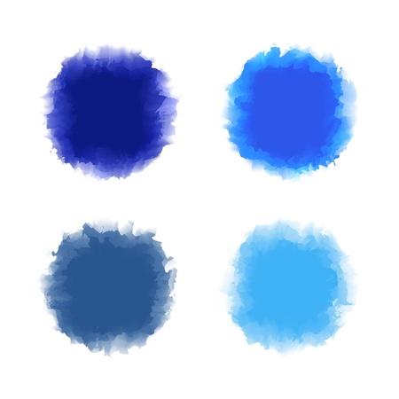 gocce di colore: Set di tono blu goccia di colore di acqua per pennello, testo, sfondo, elemento di design