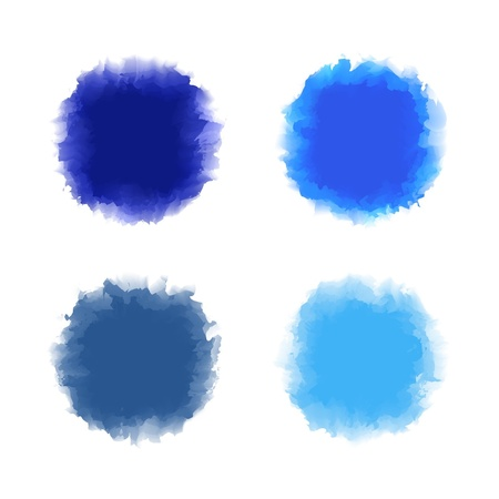 water color painting: Set of blue tone water color drop for brush, textbox, background, design element Illustration