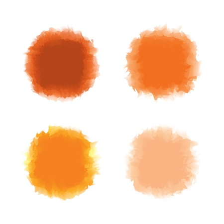 Set of orange tone water color drop for brush, textbox, background, design element Illustration