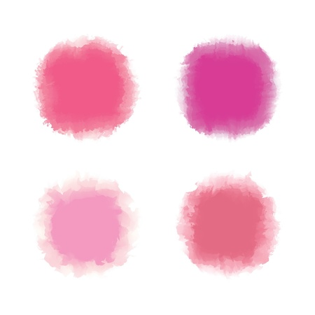 Set of pink tone water color drop for brush, textbox, background, design element Stock Vector - 17993123
