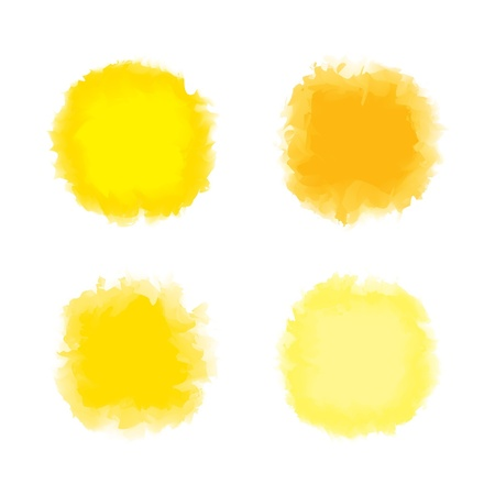 Set of yellow tone water color drop for brush, textbox, background, design element Illustration