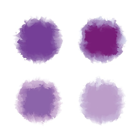 Set of purple and violet tone water color drop for brush, textbox, background, design element Stock Vector - 17993145