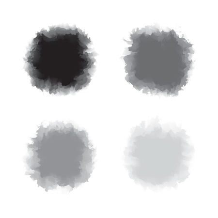 Set of black and grey tone water color drop for brush, textbox, background, design element Stock Vector - 17993136