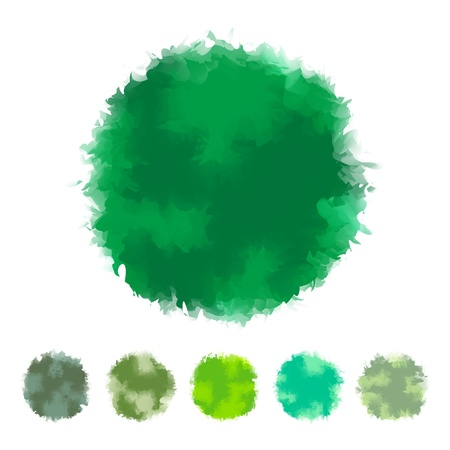 tone: Set of green tone water color round shape design for brush, textbox, design element, VECTOR EPS10
