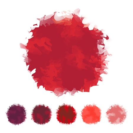 Set of red tone water color round shape design for brush, textbox, design element, VECTOR EPS10 Illustration