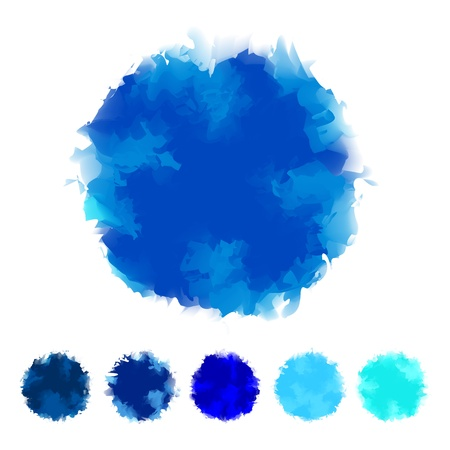 tone: Set of blue tone water color round shape design for brush, textbox, design element, VECTOR EPS10