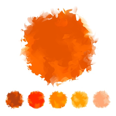 Set of orange tone water color round shape design for brush, textbox, design element, VECTOR EPS10