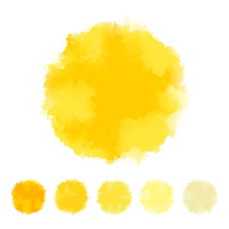 watercolor splash: Set of yellow tone water color round shape design for brush, textbox, design element, VECTOR EPS10
