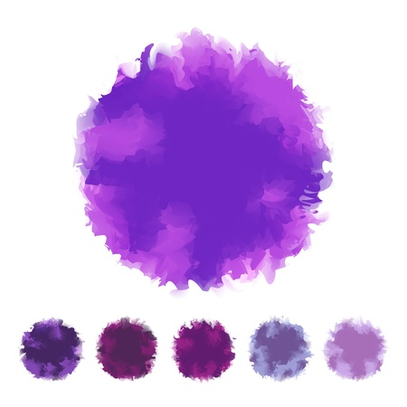 textbox: Set of purple or violet tone water color round shape design for brush, textbox, design element, VECTOR EPS10