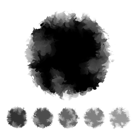 Set of black and grey tone water color round shape design for brush, textbox, design element, VECTOR EPS10