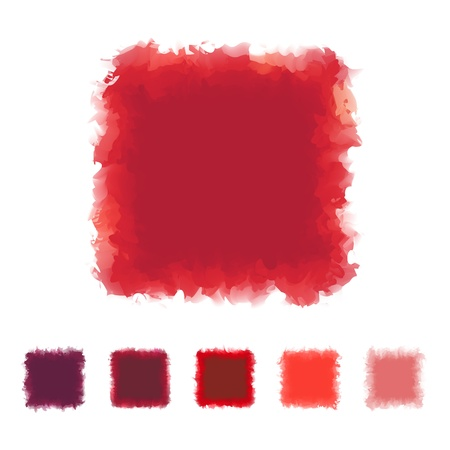 textbox: Set of red tone watercolor square shape design for brush, textbox, design element, VECTOR EPS10 Illustration