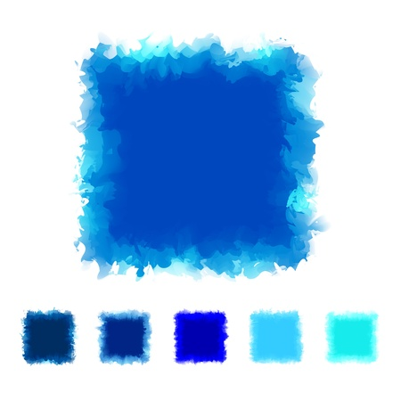 textbox: Set of blue tone watercolor square shape design for brush, textbox, design element, VECTOR EPS10