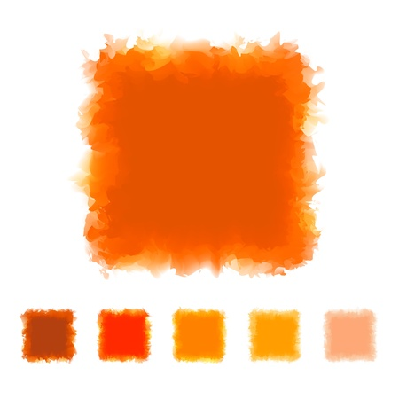 textspace: Set of orange tone watercolor square shape design for brush, textbox, design element, VECTOR EPS10 Illustration