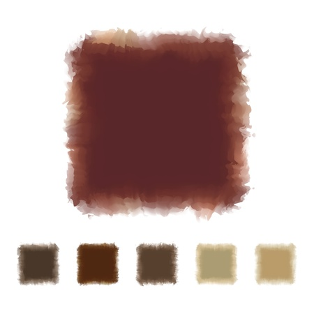 textbox: Set of brown tone watercolor square shape design for brush, textbox, design element, VECTOR EPS10