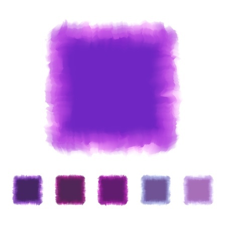 textbox: Set of purple or violet tone watercolor square shape design for brush, textbox, design element, VECTOR EPS10