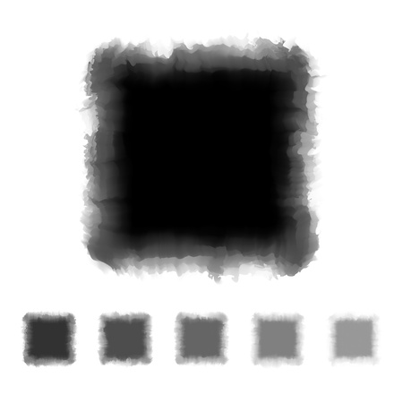 Set of black and grey tone watercolor square shape design for brush, textbox, design element, VECTOR EPS10 Vector