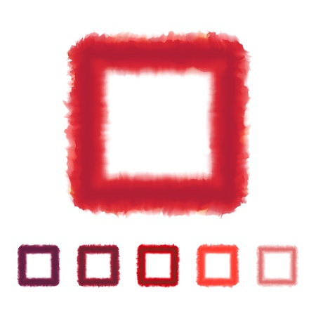 Set of red tone watercolor square frame VECTOR EPS10 Vector