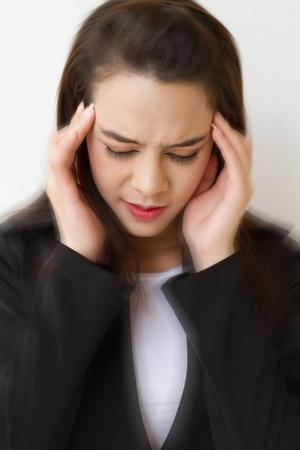 vertigo: woman with headache, migraine, stress, insomnia, hangover, dizziness with vertigo accent