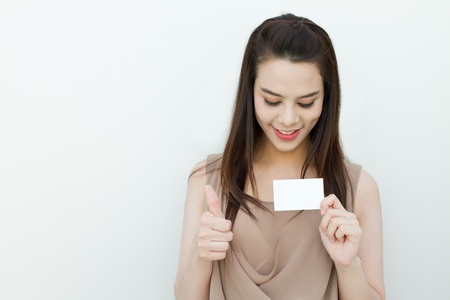 woman hand holding black card with text space photo