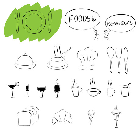 foods and beverages icon set Vector