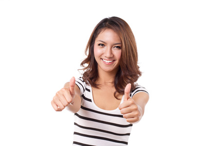 beautiful, attractive, friendly, smiling woman giving two thumbs up, white isolate Stock Photo