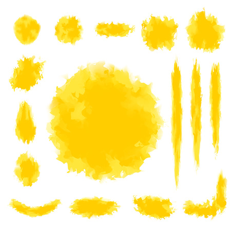 textbox: Set of yellow tone water color design for brush, textbox, design element
