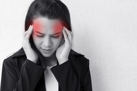 woman with headache, migraine, stress, insomnia, hangover  with red danger alert accent Stock Photo - 26406710