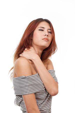 woman with pain at shoulder, neck, upper back due to injury or office syndrome photo