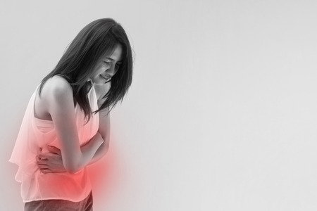 menstruation pain or stomach ache, mild pain with red alert accent