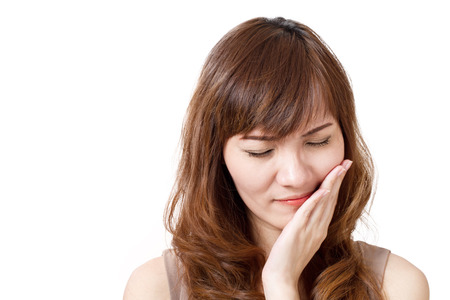 toothache: woman suffers from toothache Stock Photo