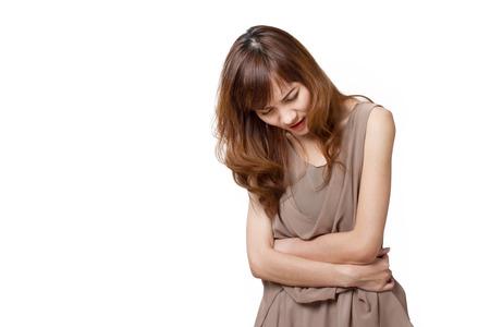 zieke vrouw patiënt met buikpijn, buik pijn, ziekte, gezondheidsprobleem, staande naar beneden