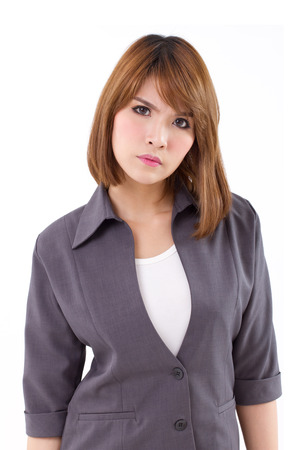 complaining: angry business woman looking at you, white isolated background Stock Photo