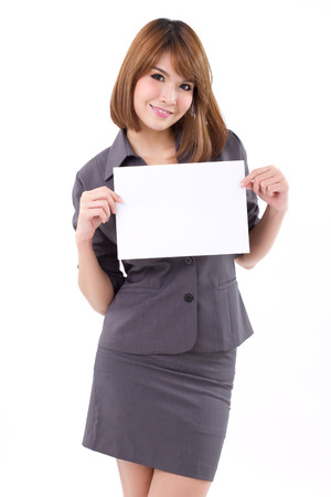 woman holding card: Business woman holding a banner, board, blank card for text space on white isolated background Stock Photo