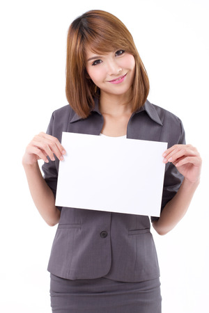 Business woman holding a banner, board, blank card for text space on white isolated background photo