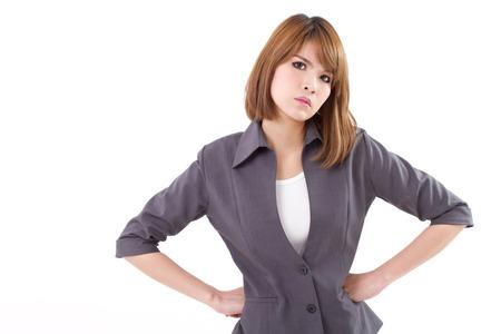 mani sui fianchi: arrabbiato, serio, donna d'affari arrabbiato con le mani sui fianchi, guardando a voi