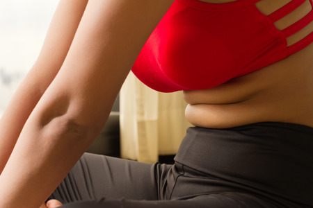 fat belly of woman with excessive obesity Stock Photo