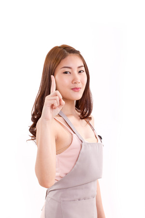 no1: cooking woman raising one finger, concept of suggestion or no.1