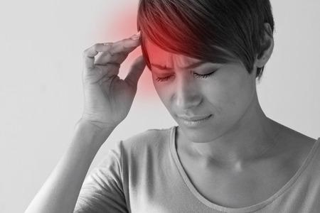 sick woman with headache. Stock Photo