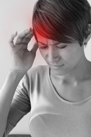 sick woman with headache. Stock Photo
