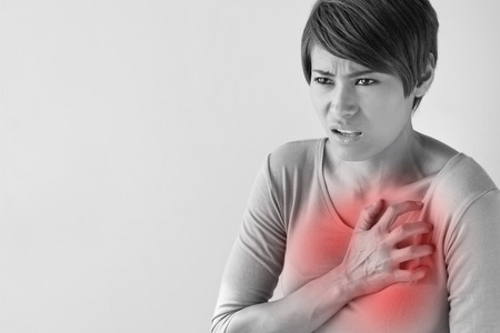 adult breast: sick woman with sudden heart attack symptom