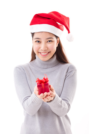 woman with christmas red gift box, white isolated background photo