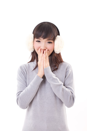 muff: happy, smiling, joyful woman with earmuffs