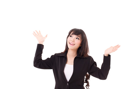 screaming girl: exited, surprised business woman looking up to blank space