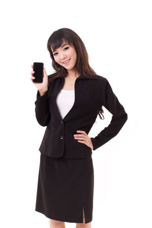 businesswoman showing smartphone, studio isolated photo