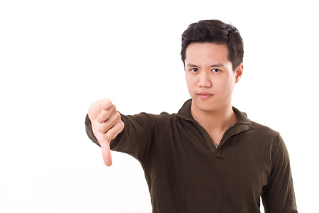 unaccepted: man giving thumb down, showing rejection